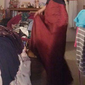 Vintage Boho Red silk wrap skirt